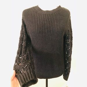 WILFRED aritzia sweater with open knit sleeve